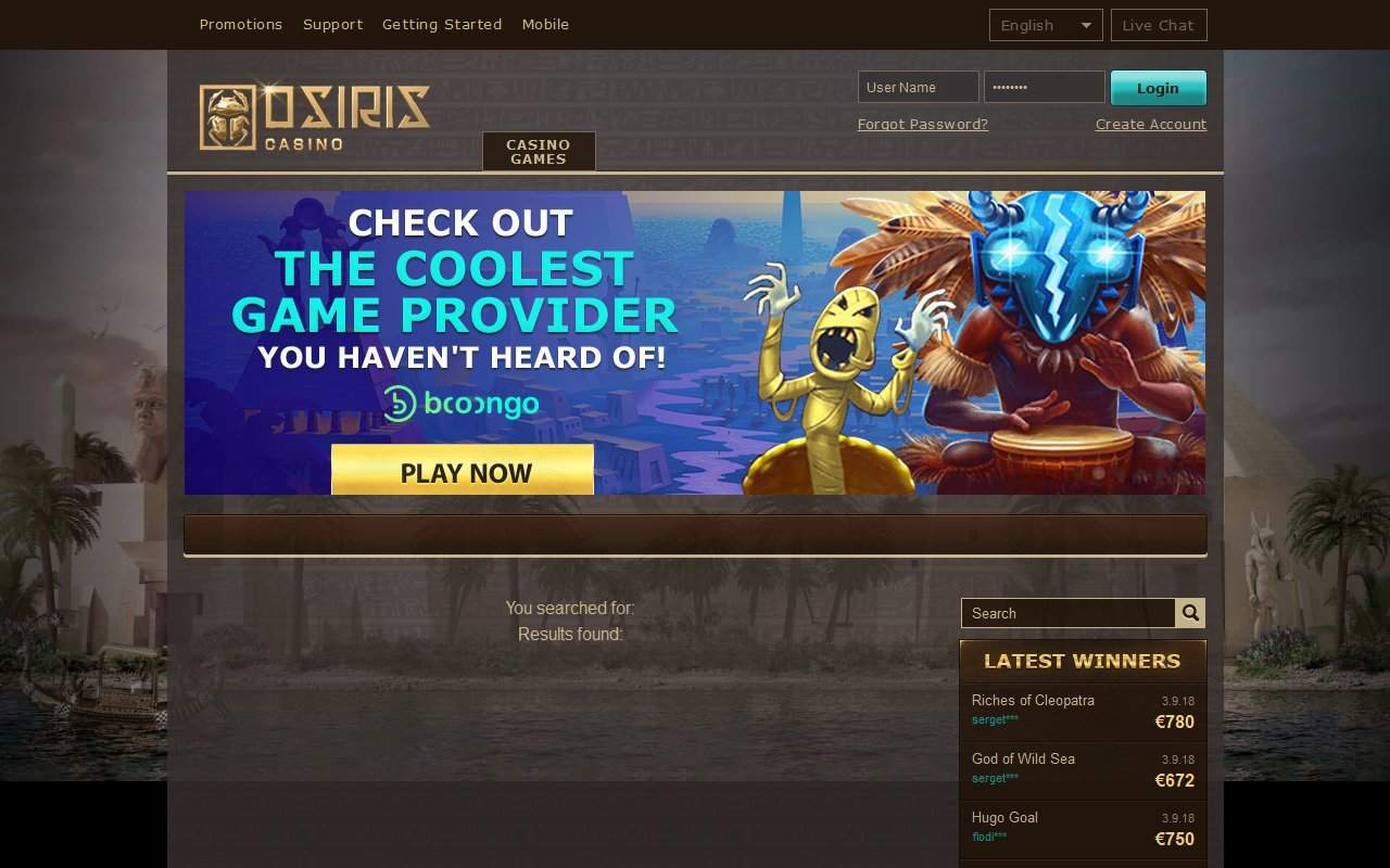 Gallery - Osiris Casino Review